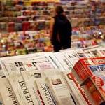 Kiosk-Auslage, Zeitungen, Zeitschriften, Auflage