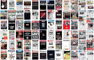 Titelseiten zum Anschlag auf Charlie Hebdo