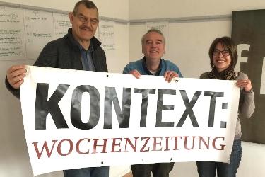 Sie halten die Fahne der Kritik hoch: Jo Röttgers, Josef-Otto Freudenreich, Susanne Stiefel