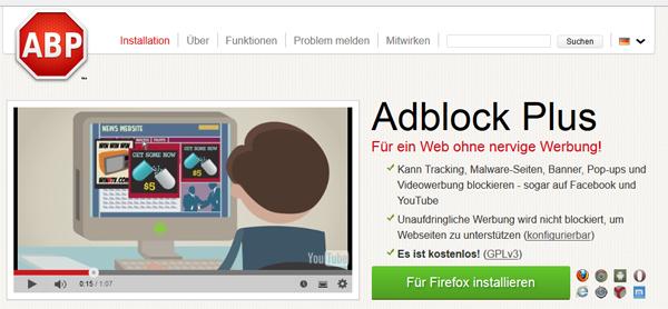 Adblock Plus: Ein Dorn im Auge der Online-Vermarkter.