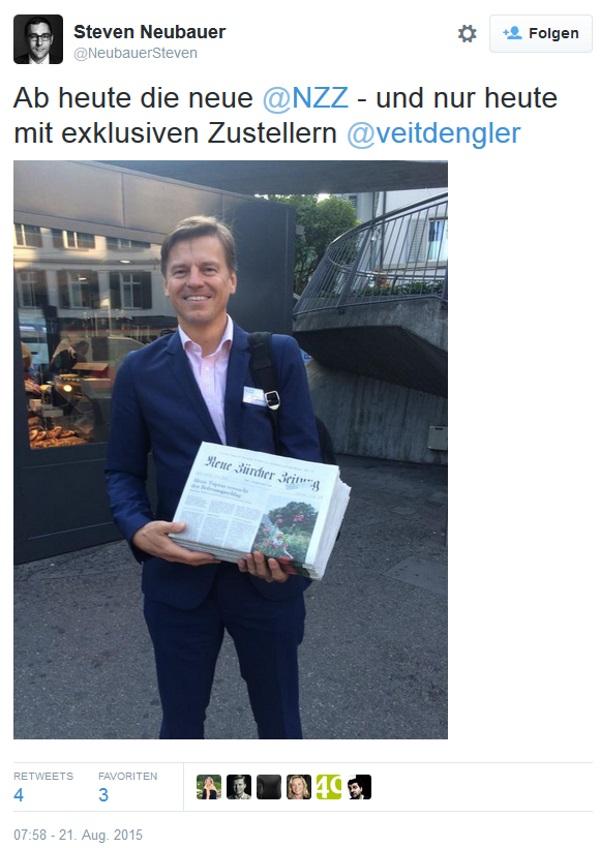 Tweet Veit Dengler als NZZ-Zusteller - 21.8.2015