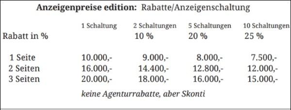 Anzeigenpreise edition 600