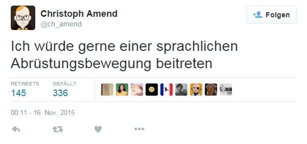 Tweet Christoph Amend Abrüstungserklärung