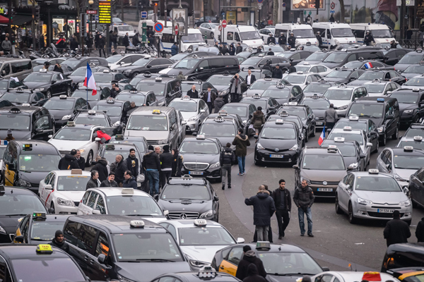 Taxi drivers demonstrate against Uber