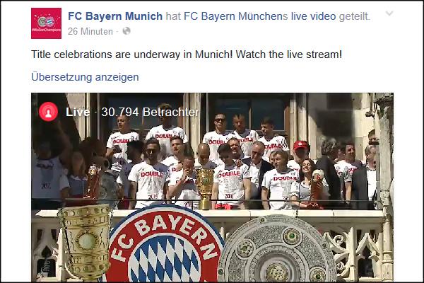 FC Bayern Double-Feier 2016 Facebook