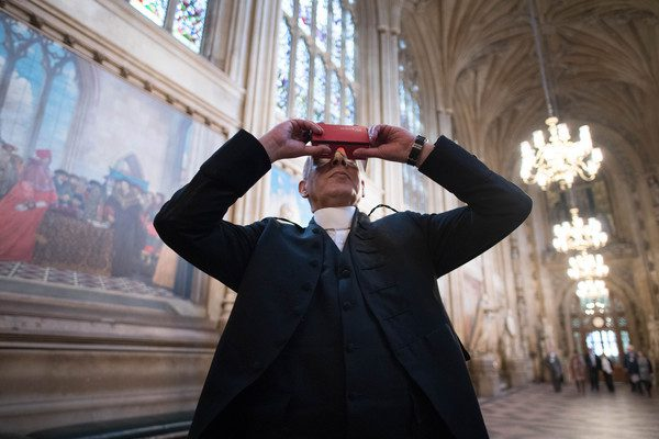 Parliament 360 degree headset. House of Commons Serjeant at Arms Kamal El-Hajji tries a new 360 degree headset which allows people to have a virtual reality tour of the Houses of Parliament in London using their smart phone from anywhere in the world